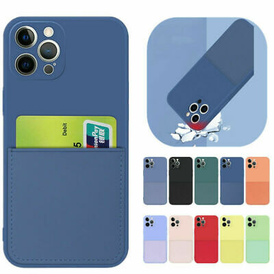 AU13.99 • Buy For IPhone 12 Pro Max 11 XS XR X 8 7 Plus 6 Card Slot Pocket Silicone Case Cover