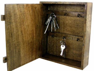 £36.95 • Buy Wooden Key Cabinet Wall Mounted Country Style Storage Safe Cupboard With 6 Hooks