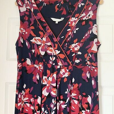 £4.99 • Buy John Rocha Navy Pink Red Floral Maxi (if Petite) Or Long Jersey Dress Size 12