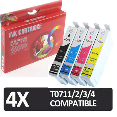 £4.99 • Buy 4x Non-oem Ink Cartridges For Use In Epson Stylus Sx218 Sx400 Sx405 Sx410 T0715