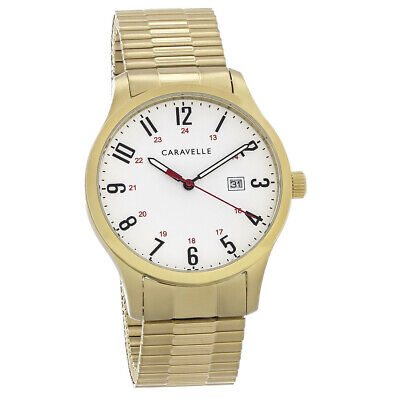 $35 • Buy Caravelle By Bulova Mens Gold Tone Stainless Steel Quartz Watch 44B117