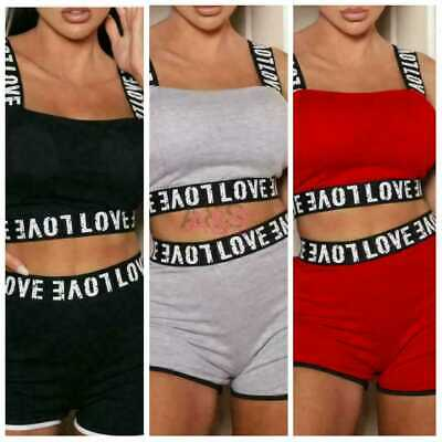 £17.65 • Buy Ladies LOVE Tape Crop Top Short Womens Two Piece Co Ord Gym Cycling Set UK