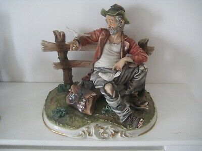 £19.99 • Buy Large Capodimonte Bisque Figure Tramp On A Bench Feeding Birds
