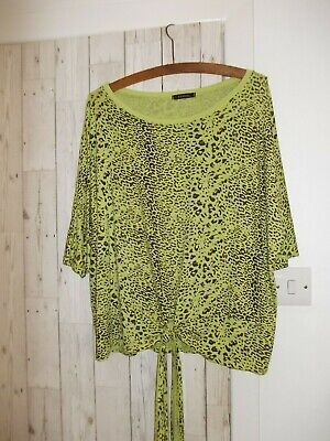 £3 • Buy Women's Animal Print Tie Front Lime Green Top, Size 16/18.