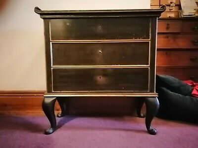 £32 • Buy Japanese Lacquered Chest Of Drawers 'black' Finish With Gold Detail.
