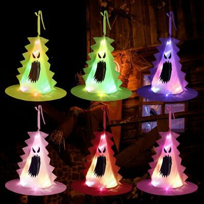 $ CDN8.36 • Buy Outdoor Tassel Witch Hat LED Lights Hats Hanging Ornament Halloween Decoration
