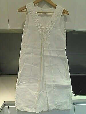 £9.99 • Buy THE WHITE COMPANY WHITE LABEL White Pleated LINEN Dress Size 8