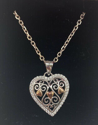 """£3 • Buy Sterling Silver And Rose Gold Plated Heart Necklace Nelken Jewellers 12"""" Chain"""