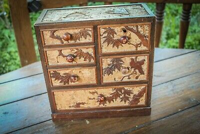 £89.99 • Buy Antique - Japanese Meiji - Parquetry Inlaid Collectors Cabinet - Small Drawers