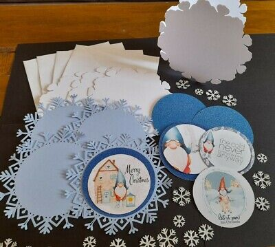 £1.49 • Buy Craft Bundle - Christmas Snowflake Concept Card With Gnome Toppers (4 Sets)