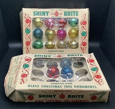 """$ CDN12.53 • Buy Lot Of 15 Vintage Shiny Brite GLASS 1"""" Mini Christmas Tree Ornaments FOR CRAFTS"""