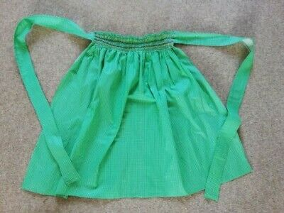 £5 • Buy Vintage Retro Half Apron Pinny Green Gingham Shirred Embroidered Waistband