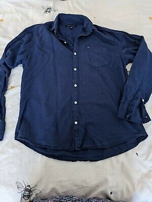 £2.20 • Buy TOMMY HILFIGER Retro Men's Size Large Navy Long Sleeve Button Shirt