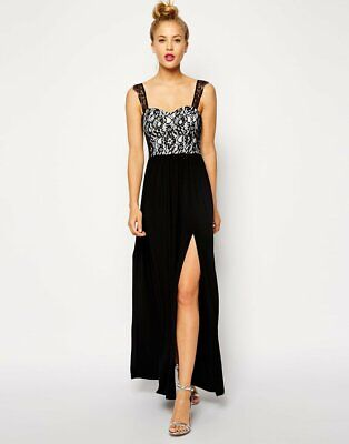 AU17.99 • Buy ASOS Lace Top Maxi Dress With Split Size 14 BNWT Black And White Lace
