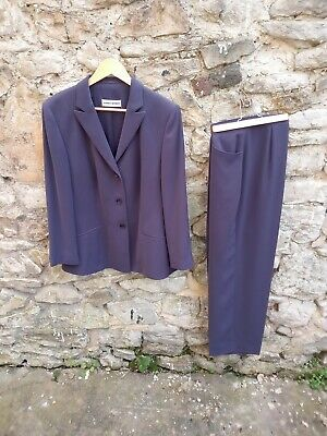 £38 • Buy Gerry Weber Womens Chocolate / Purple Pleated Trouser Suit Size 44 / 12