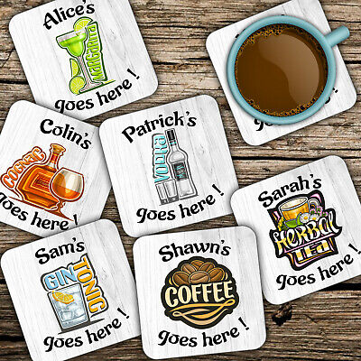 £2.98 • Buy Personalised NAME Alcoholic Beverages Drinks SQUARE COASTER Custom Printed 9.5cm