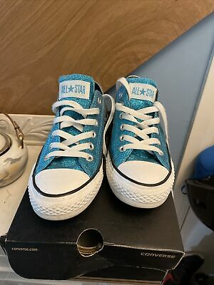 £19.99 • Buy Blue & Silver Glitter Converse Trainers Size 5 With Box Limited Edition