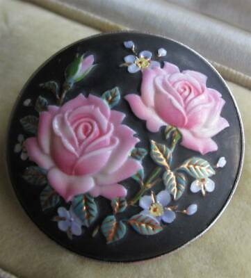£99.99 • Buy Beautiful Signed Toshikane Japapanese Porcelain Flowers Brooch Roses Silver Tone