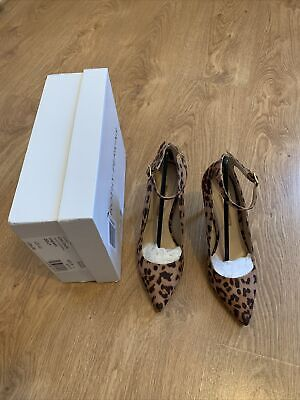 £4.90 • Buy Dorothy Perkins Size 4 37 Leopard Print Ankle Strap High Heel Court Shoes Bnwb