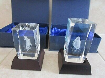 £16.95 • Buy 2 Sports Trophies Football. Glass Cube With Hologram Designs + BASE + BOX