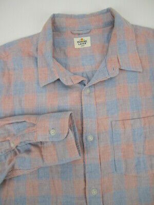 $29 • Buy Mens Marge Marine Layer Peach Blue Button Flannel Long Sleeve Shirt