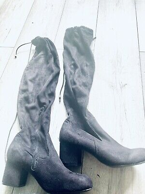 £4.99 • Buy Over The Knee Size 8 Black Faux Suede Boots