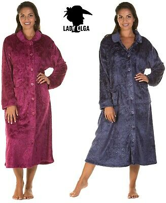 £21.99 • Buy Ladies Soft Feel Cozy Embossed Velour Button Dressing Gown Robe  Housecoat