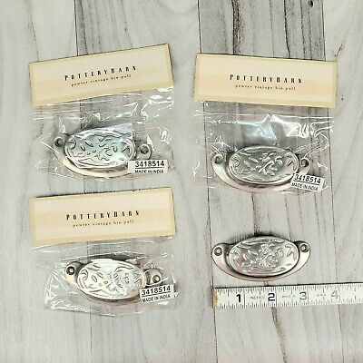 $18.89 • Buy Pottery Barn Pewter Vintage Bin Pull Drawer Pull 3418514 Lot Of 3 (plus 1 Loose)