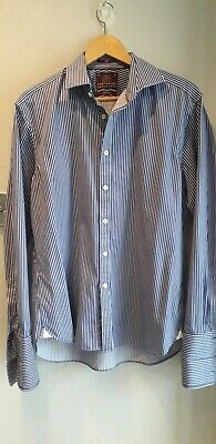 £1.50 • Buy M&s Sartorial Cotton Blue And White Stripe Shirt Size 16.5