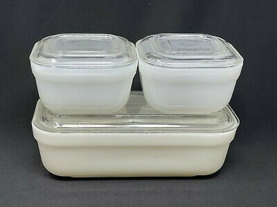 $15.50 • Buy Vintage Fire King Milk Glass Refrigerator Dishes W/ Lids 2 Square & 1 Rectangle