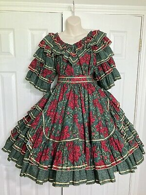 $65 • Buy Christmas Poinsettia Medium Professional Made Square Dance Outfit Dress