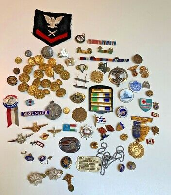 £10.07 • Buy HUGE~Vintage Military~LOT~Pins~tags~Buttons~Oddities~Sterling~Enamel~Porcelain