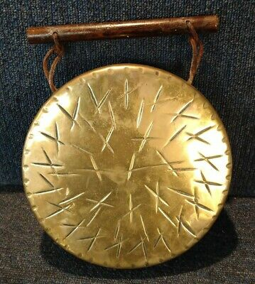£19.99 • Buy Decorative Brass Hand Gong / Dinner Gong With Wooden Carry Handle