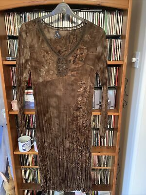 £4 • Buy Mexx Brown Mix Crinkle Effect L/sleeve Lined Dress Size 12 Ex Cond