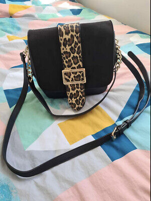 £13 • Buy Womens Black And Leopard Print Leather Bag