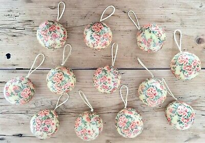 $ CDN13.95 • Buy Lot Vintage Style Floral Gisela Graham Christmas Tree Decorations Baubles