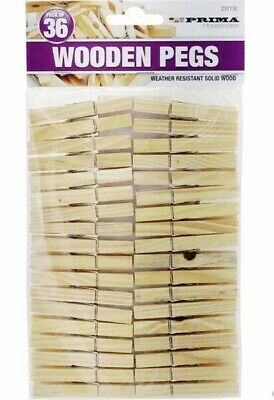 £0.99 • Buy 36 Pack Wooden Clothes Pegs Rust Resistant Wood Dry Clips Garden Washing Line