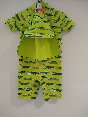 £1.50 • Buy Next Boy Age 3-4 Swim Crocodile Print All In One With Hat Very Good Condition