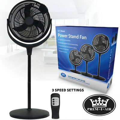 £39.99 • Buy 12  Pedestal Fan Large High Speed Adj Height 3 Speed Quite With Remote And Timer