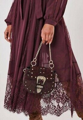 £19.99 • Buy Missguided Western Burgundy Snakeskin Crossbody Gold Chain Size Small Bloggers