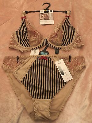 £15.99 • Buy NEW M&S Boutique Plunge Striped Bra Set 38C & Size 14 Knickers Stunning
