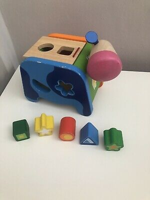 £4 • Buy Djeco Wooden Blue Cow Colourful Shape Sorter Baby Wooden Toy Educational 🐮