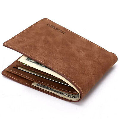 $0.06 • Buy Men's Soft Leather Bifold Credit ID Card Holder Slim Thin Wallet Brown