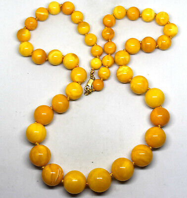 £1153.65 • Buy Natural Baltic Butterscotch Amber Round Beads Necklace 63 Grams