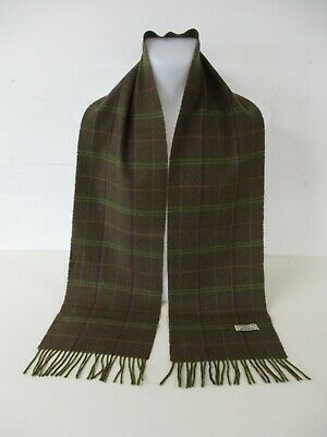 $7.64 • Buy BURBERRY SCARF, 100% Cashmere, Brown Green Windowpane Check, 73  X 9.5