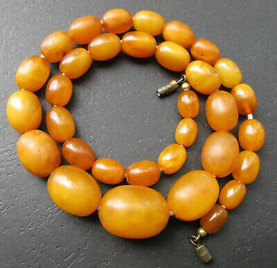 £252.36 • Buy Antique Natural Butterscotch Egg Yolk Baltic Amber Beads Necklace 22.7g.