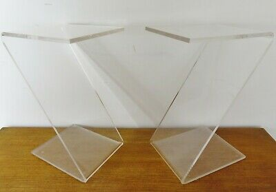 £325 • Buy STUNNING PAIR VINTAGE ITALIAN LUCITE Z SIDE TABLES BEDSIDE TABLES - 1970's