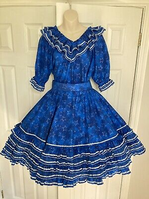 $75 • Buy Gorgeous Sparkle Blue Medium/Large Professional Made Square Dance Outfit Dress