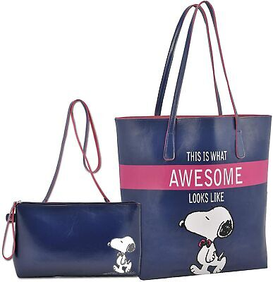 £16.99 • Buy Peanuts Snoopy Square Tote Bag And Small Shoulder Bag Blue