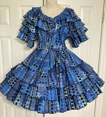 $75 • Buy Gorgeous Rhythm Creations Blue Dot Med/LG Square Dance Outfit Dress. Pre-owned.